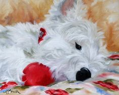 NEEDLEPOINT CANVAS PRINT Westie West Highland Terrier Puppy Painting by Mary Sparrow of Hanging the Moon art studio Shelby