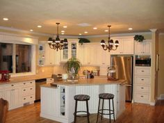 l shaped kitchen with angled corner - Google Search