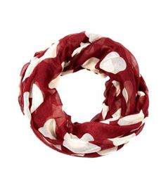 Red and White Heart Print Snood