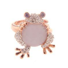 anillo rana amatista y cuarzo blanco chapado en oro rosa