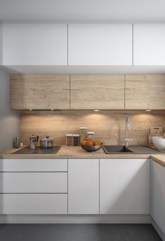 Simple Kitchen Design, Kitchen Room Design, Kitchen Cabinet Design, Home Decor Kitchen, Interior Design Kitchen, Home Kitchens, U Shaped Kitchen Interior, Minimal Kitchen, Small Modern Kitchens