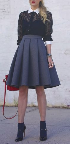 Black lack blouse or cardigan, white button down shirt, gray skirt, black shoes (though I would never wear socks with heels, or heels that high).