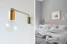 | Apliques de pared de estilo industrial y contemporáneo Brass Lamp, Sconces, Wall Lights, Interior Decorating, Sweet Home, Lighting, Room, Inspiration, Home Decor