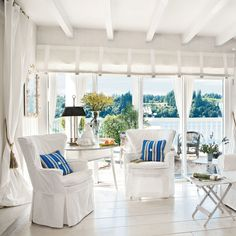 Bright-White Living Room - 20 Beautiful Beach Cottages - Coastal Living