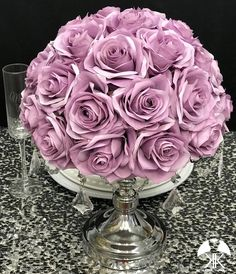 DUSTY LAVENDER Rose Arrangement. Dusty Lavender Wedding Centerpiece. Floating Pomander. Dusty Lavender Bouquet. Dusty Lavender Centerpiece