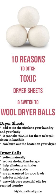 Make the switch! 10 Reasons to Ditch Toxic Dryer Sheets & Switch to Wool Dryer Balls Norwex Cleaning, Green Cleaning, Norwex Biz, Cleaning Quotes, Cleaning Hacks, Norwex Party, Norwex Consultant, Chemical Free Cleaning, Natural Cleaning Products