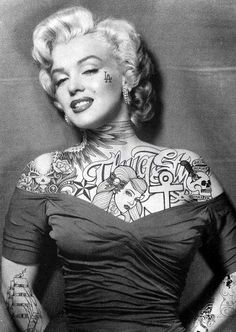 I love pictures where Marilyn Monroe has tattoos
