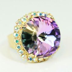 Aqua purple and Gold.....glamorous and Sparkly statement adjustable Swarovski 18mm Ring! 💙💜💍
