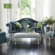Ideas from www.thedormyhouse.com Greenery looks fabulous matched with petrol blue - as you'll see on one of sofas. #pantone #greenery #rooms #spring