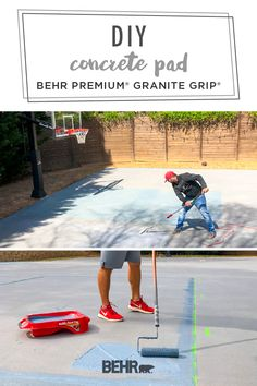 Durable, slip-resistant finish ✓ a range of stylish colors to choose from ✓ hides hairline cracks ✓ BEHR PREMIUMⓇ GRANITE GRIPⓇ does it all! See how Katie, of Bower Power, used it to refinish her outdoor concrete pad, turning it into a backyard basketball court for her family. Click below for the full tutorial.