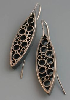 "Kristi Zevenbergen: Leaf Form Earrings, Earrings in sterling silver. Approx 2 1/4"" long."