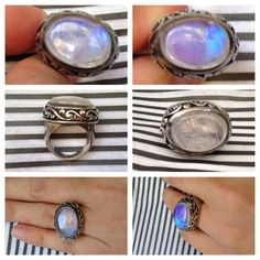Moonstone Silver Ring Sterling Silver and semi-precious moonstone. Approximately size 6 (best estimate). Jewelry Rings