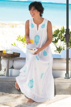 Turquesa Gown - Turquoise Nightgown, Crochet Trim Gown, White Cotton Nightgown | Soft Surroundings