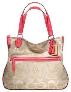 coach pink and gray purse aujs  Coach New Poppy Signature Metallic Outline Hallie F22455 -multicolor Only  CORAL/BEIGE Tote Bag