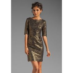 Shoshanna Metallic Guipure Lace Minka Dress in Gold/Black ($277) ❤ liked on Polyvore