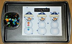 The Counting Christmas Snowmen Buttons Cookie Sheet Activity is a winter themed activity. In this activity, students count and sort buttons onto sorting mats. Four mats are included that focus on the numbers Preschool Christmas Games, Preschool Centers, Christmas Crafts For Kids, Christmas Snowman, Preschool Activities, File Folder Activities, File Folder Games, Early Learning Activities, Learning Centers
