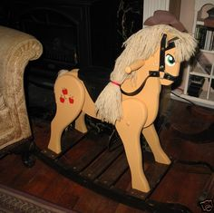 My Little Pony Apple Jack Friendship Is Magic MLP FIM Painted Wood Rocking Horse | eBay