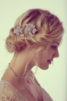 wavy  updo for brides with medium hair