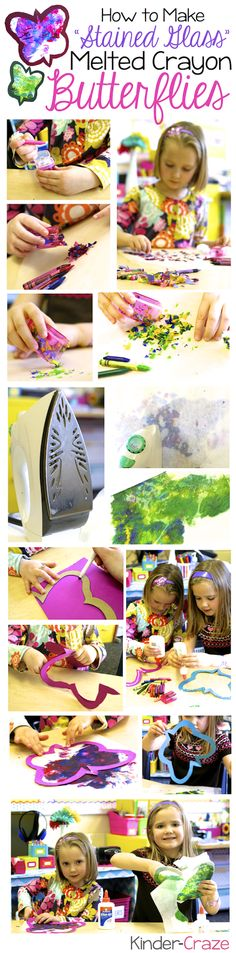 make stained glass butterflies with wax paper and crayons