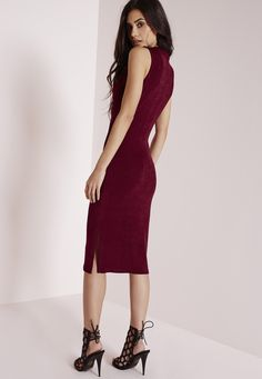 Missguided - High Neck Knitted Midi Dress Burgundy