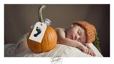 CT Newborn Photographer Photo of Baby in Pumpkin Hat