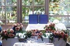 冬の会場装花 紅茶と青 アンカシェット様へ : 一会 ウエディングの花