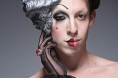 """Leland Bobbe's most recent project """"Half Drag,"""" the New York native captures the two identities of the big city's drag queens. Bobbe captures the images in-camera with thequeens sporting their alter egos in full hair (and even fuller makeup) on the left side while sporting an au naturel look all on the right."""