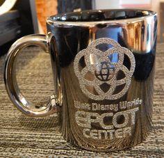 WALT DISNEY WORLD EPCOT CENTER Reflective Silver Coffee Mug Cup Textured Letters #Disney