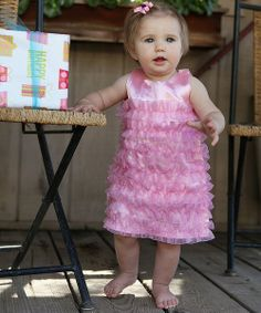 Take a look at the RuffleButts Pink Satin Ruffle Dress - Infant on #zulily today!