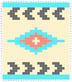 Free Crochet Pattern: pretty southwest style pattern using sc and this graph Tapestry Crochet Patterns, Bead Loom Patterns, Weaving Patterns, Crochet Chart, Filet Crochet, Knitting Charts, Knitting Patterns, Cross Stitch Designs, Cross Stitch Patterns