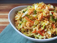 Asian Slaw with Crunchy Ramen : Raw ramen adds awesome crunch to slaw. Toss coleslaw mix with chopped raw ramen, scallions, cilantro and carrot-ginger dressing. You can even add some of the ramen flavor packet for a little extra umami blast. Eat it as a side dish, on a burger or on a pulled pork sandwich.