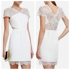 BCBGMAXAZRIA Nel Dress Gorgeous, stylish, never worn NWT Nel dress in white.  Beautiful, V-neck dress  Short, cap sleeves  Sheer lace at back, neckline, and side cutouts  Lace trim along bottom  Inner slip  Concealed side seam zipper  Dry Clean Only BCBGMaxAzria Dresses Mini