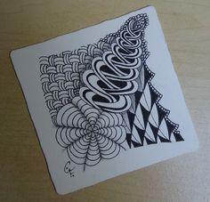 Zentangle - 16. April 2015 - Zentangle patterns: Flying Geese, Dyon, Chainging, Keeko