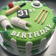 Cricket themed birthday cake Cricket Birthday Cake, Cricket Theme Cake, 50th Birthday Cakes For Men, Themed Birthday Cakes, Theme Cakes, Male Birthday, 60th Birthday, Theme Sport, Sports Themed Cakes