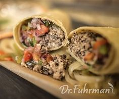 Lentil Walnut Burritos with Peppers, Onions and Salsa drfuhrmanrecipes Mexican Food Recipes, Whole Food Recipes, Vegetarian Recipes, Healthy Recipes, Yummy Recipes, Healthy Food, Dr Fuhrman Recipes, Nutritarian Diet, Plant Based Whole Foods