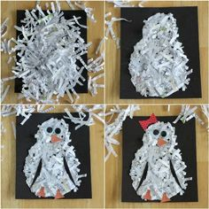 "For our polar bear covers!!!"".  Penguins, snowmen, polar bears.  You could do a load of other animals if you have different coloured paper to shred."