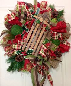 Christmas/Winter Mesh Wreath on Etsy, $105.00