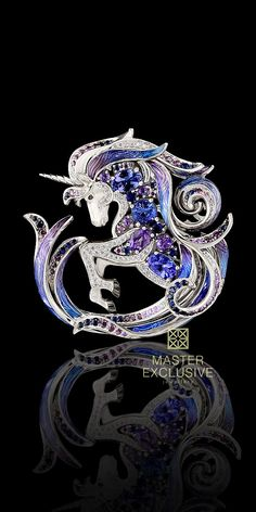 "Pendant-brooch ""Единорог"" 13397 Collection: Mysticism 18K white gold, diamonds, black diamonds, purple diamonds, blue sapphires, lavender sapphires, tanzanite, amethyst, enamel."