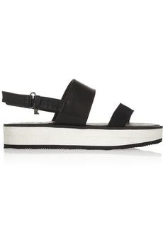 2df2826d4f23 Karl Lagerfeld - Leather and canvas slingback sandals