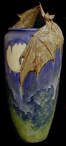 Freiwald Pottery stoneware vase with bat  moon