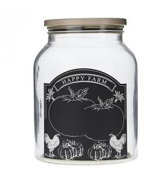 GLASS JAR 'BLACKBOARD' W_LID 16Χ16Χ21