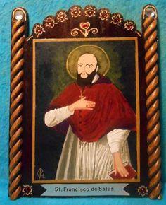 St. Francisco de Salas Retablo - Feast Day January 24 - pinned by pin4etsy.com