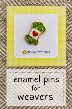 This is one of the enamel pins in my collection for weavers - there's also an alpaca, sheep. loom, and a glittery ball of ya Weaving Tools, Weaving Projects, Loom Weaving, Hand Weaving, Fiber Art Jewelry, Fibre And Fabric, Tapestry Weaving, Learn To Crochet, Fabric Crafts