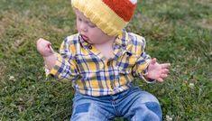 Toddler Candy Corn Hat Knitting Pattern - Gina Michele Free Knitting, Knitting Patterns, Halloween Knitting, Pumpkin Hat, Knit In The Round, Lion Brand, Garter Stitch, Brim Hat, Candy Corn