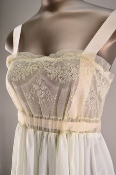 Iris 1940's nightgown. Empire waist, lace bodice and ribbon straps. *vintage leavers*
