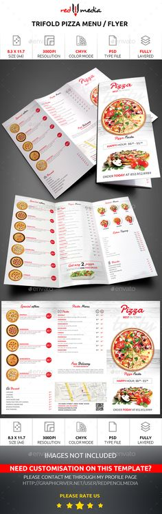 Trifold Pizza Menu / Flyer - Restaurant Flyers