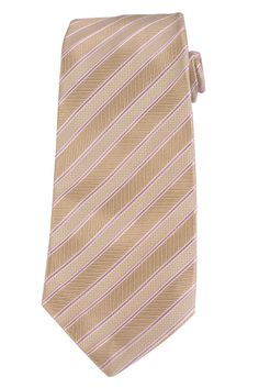 KITON Napoli Hand-Made Seven Fold Beige Repp Striped Silk Tie NEW