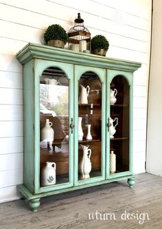 Items similar to Sold ! Light blue / green farmhouse stall, vintage buffet, painted porcelain cabinet on EtsySold Light Blue / Green Farmhouse Hutch Vintage by UTurnDesignRepurposed Hutch Top Refurbished Furniture, Paint Furniture, Repurposed Furniture, Shabby Chic Furniture, Furniture Projects, Furniture Makeover, Furniture Decor, Dresser Makeovers, Furniture Dolly