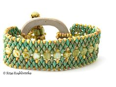 Back view of Turquoise Tile Superduo Clasp Bracelet. Image copyright © Rose Rushbrooke.