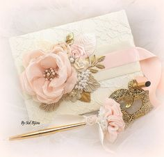***Made Upon Request  ***This listing is for 1 guest book, pen and pen base as shown or in any color combination   My newest decadent guest book and pen